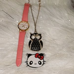 Watch hello Kitty emblem and long owl necklace